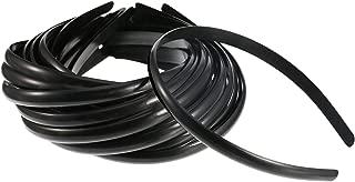 Hicarer Plastic Hair Headband 10 mm Plain No Teeth DIY Hair Bands Plain Headbands for Girl and Woman (30 Packs, Black)