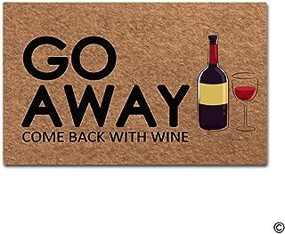 MsMr Doormat Entrance Floor Mat Funny Door Mat Go Away, Come Back with Wine Designed Non-Slip Doormat 23.6 by 15.7 Inch Non-Woven Fabric