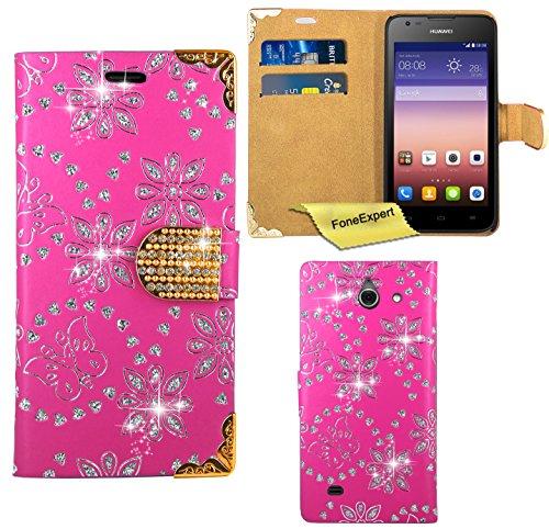 Huawei Ascend Y550 Hülle, FoneExpert® Bling Luxus Diamant Hülle Wallet Hülle Cover Hüllen Etui Ledertasche Premium Lederhülle Schutzhülle für Huawei Ascend Y550 + Bildschirmschutzfolie (Rosa)