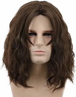 Karlery Men Fluffy Short Curly Brown Wig Halloween Cosplay Wig Anime Costume Wig (2)