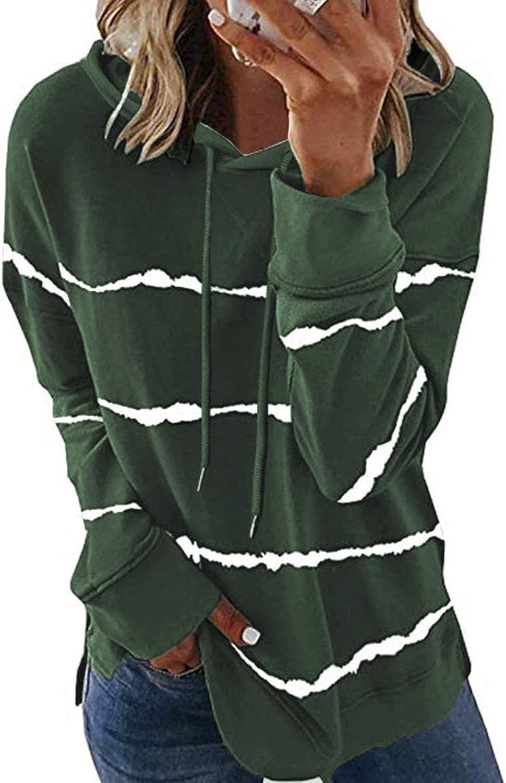 KINGFEN Lightweight Sweatshirts for Women Long Sleeve Striped Color Block Hoodies Tops Pullover