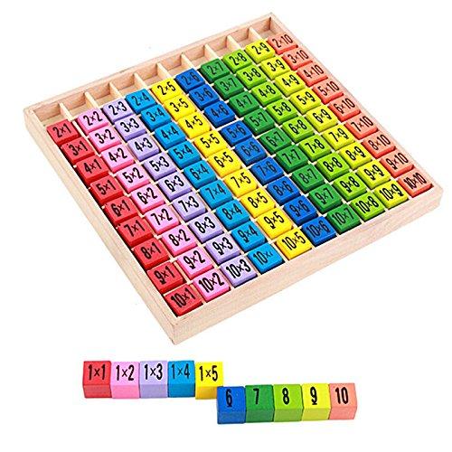 ZREAL Kinder Lernspielzeug Temprano aus Holz 99 Mathematische Multiplikationstabelle Spielzeug 10 * 10 Figuren Geschenkblöcke für Kinder