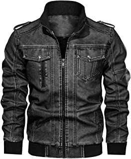 Faux Leather Jacket Men's Denim Coat Big Size Casual Washed Solid Zippers with Stand Collar Outwear