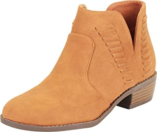 Cambridge Select Women's Western Side V Cutout Whipstitch Chunky Block Low Heel Ankle Bootie