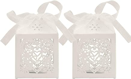 UPKOCH 70pcs Paper Candy Boxes with Lace Ribbon Wedding Gift Chocolate Boxes Party Favors (White)