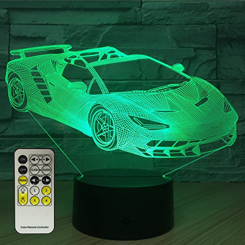 FlyonSea Race Car Gifts,Car Lamp Car Party Supplies 16 Color Changing Nightlight with Touch and Remote Control,Car Light Birthday Christmas Gifts