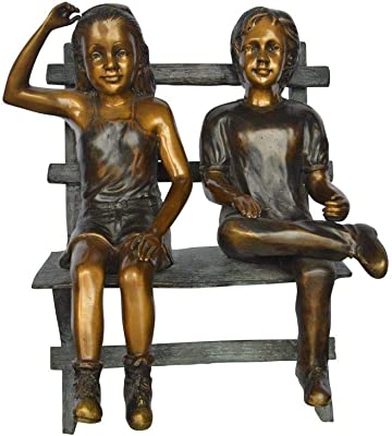 Amazon Com Grandmother And Granddaughter On Bench Statue Size 53 L X 32 W X 44 H Home Kitchen