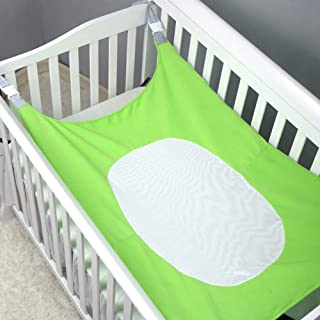 NIUXUAN Baby Hammock for Crib and Portable Bed|Soft Breathable Flannel & Spandex Net with Strong Straps Newborn Nursery Bed|Healthy Sleep for Baby & Womb Like Comfort Infant Hammock Bed(Green)