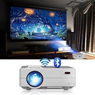 Mini Wireless Projector with WiFi and Bluetooth, Portable Outdoor Projector Compatible with iPhone iPad, Chromecast DVD Pl...