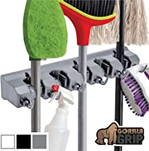 Gorilla Grip Premium Mop and Broom Holder, 5 Auto Adjust Slots, 6 Hooks, Holds Up to 50..