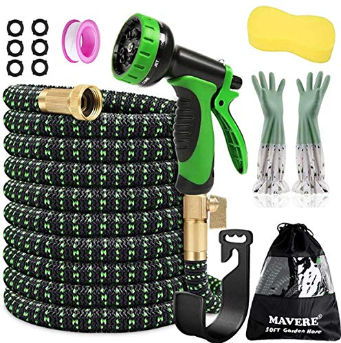 """Expandable Garden Hose 50ft x 3/4"""" Solid Brass Fittings with 10 Patterns Spray Nozzle, Flexible Water Hose - 3750D Polyester / 3-Layers Latex Core/All-Weather Flexibility, Bag & Holder"""