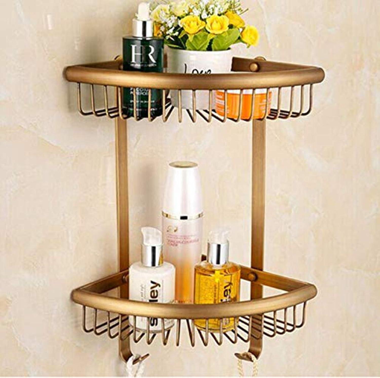 LUDSUY Antique Bronze Copper Bathroom Corner Basket Only Ones with Hooks Double Layer Bathroom Shelf Racks,D