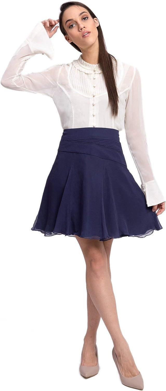Sancy Women's High Waist Flared Skirt Midi Length Pleated A-Line Casual Formal Solid