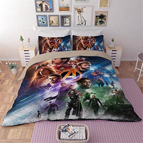 NOOS 3D Avengers Bedding Set 2019 Best Gifts for Cartoon Movie Bed Sheet Children Cartoon 3-Piece 100 Polyester Bed Set1Duvet Cover,1Flat Sheet,1Pillowcases Twin Full King Size( No Comforter Inside )