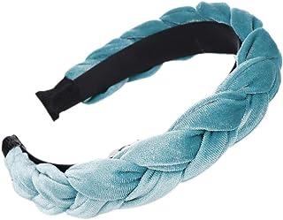 Handmade Weave Braided Wide Headband, Women Girl ien Hoop, Glitter Solid Color QIANG (Color : Blue)