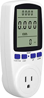 Kuman Electricity Usage Monitor Plug Power Meter Energy Watt Voltage Amps Meter with Digital LCD Display,Overload Protection and 7 Display Modes for Energy Saving (NO-Backlight)