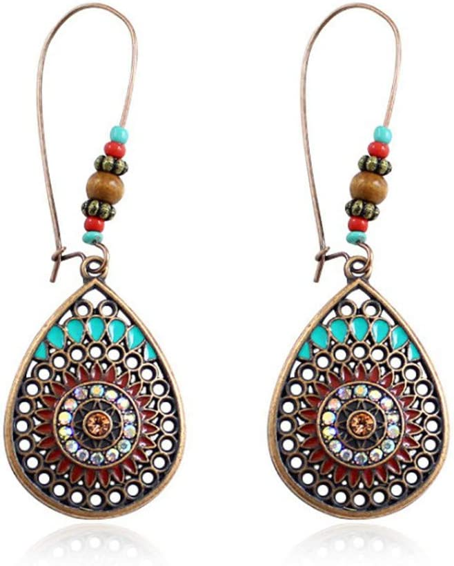 Wenini Ranking integrated 1st place Ranking TOP5 Vintage Boho Earrings Retro Indian Drop Ethnic Water Pen