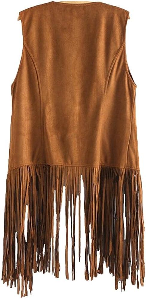 Women Fringe Vest Faux Suede Tassels 70s Hippie Clothes Open-Front Sleeveless Cardigan Female Vintage Tassels Jacket
