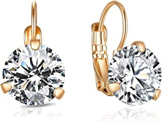 Drop Dangle Earrings 10MM CZ 3.5ct Cubic Zirconia Leverback Rose Gold Plated With Hypoallergenic Hoops Gorgeous Gift for W...