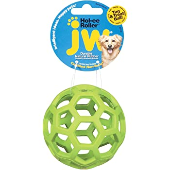 JW Hol-ee Roller Original Treat Dispensing Dog Ball - Hard Natural Rubber - Assorted Colors, Small