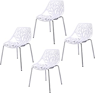Sandinrayli Set of 4 White Side Dining Chair 18