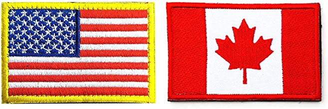 US Flag Canadian Flag Patch, Antrix 2 Pack American Flag Canada Flag Patch Military Tactical Morale Patches