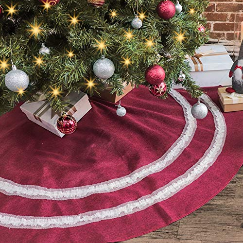 Ivenf Christmas Tree Skirt, 55 inches Extra Large Burgundy Cotton Linen with White Flower Lace Skirt, Rustic Xmas Tree Holiday Decorations