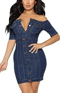 Sopliagon Women Denim Bodycon Dress Off The Shoulder Mini Jean Dresses