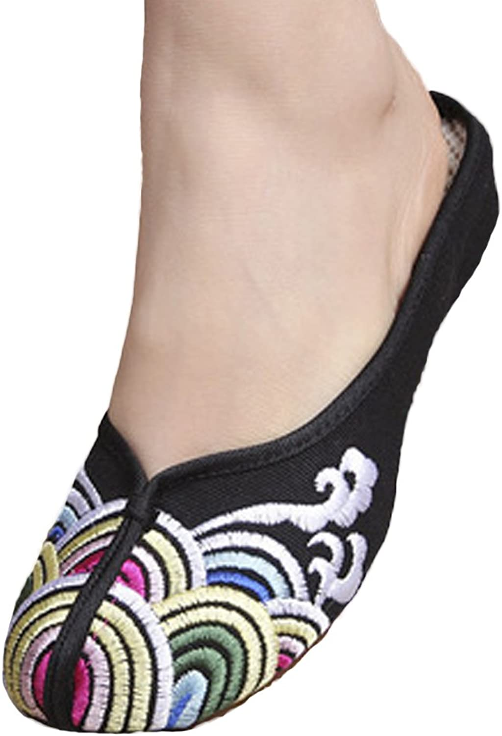 SK Studio Womens Embroidered Wedge Heel Rubber Sole Pointed Slip-on Loafer shoes