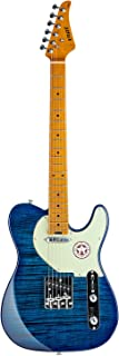 EART Classic Telecaster Electric Guitar Maple Fingerboard,Stainless Steel Frets,Tiger Veneer,Blue