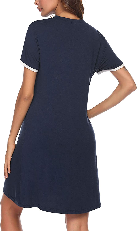 Ekouaer Short Sleeve Nightgowns for Women, Women's Button Down Sleepwear Classical Sleep Shirt Dress