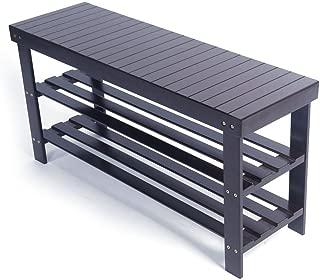 TimmyHouse Storage Racks Seat Shoe Bench Organizer Solid Bamboo Entryway Hallway Espresso