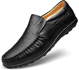 SYktcjgs Fashion Men's Classic Business Penny Loafers Soft PU Leather Dress Wedding Breathable Casual Shoes Anti-slip Flat Round Toe Slip-on Fleece Inside (Color : Black, Size : 50 EU)