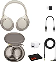Sony WH-1000XM4 Wireless Noise Canceling Overhead Headphones with Mic for Phone-Call, Voice Control, Silver, with USB Wall...