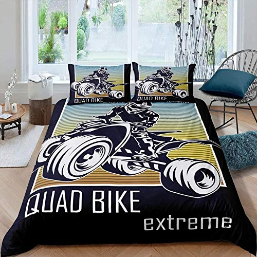 Evvaceo Kids Duvet Cover Set Single 3D Printed Sports Quad Bike Motocross Motorcycle 220 Cm X 260 Cm Bedding Duvet Cover Set With Zipper Closure For Kids Boys Teen Soft Microfiber Duvet C(Super King)