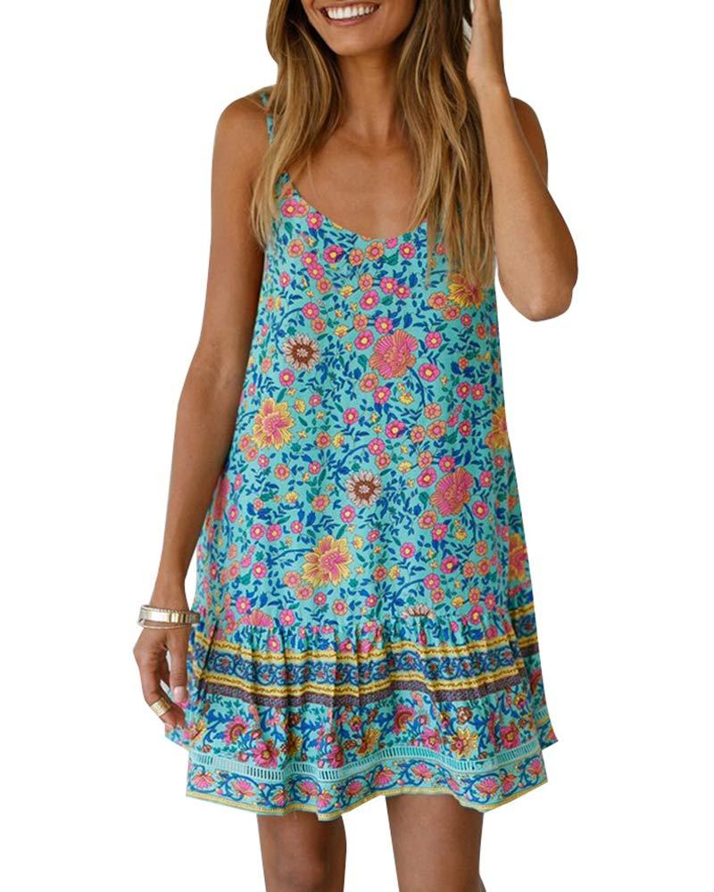Available at Amazon: Chuanqi Women's Bohemian V Neck Spaghetti Strap Backless Summer Beach Short Mini Dress