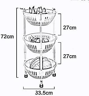 MU Boîte de Rangement portative à Usage Domestique Cuisine en Bois Massif Étagères Multicouches en Plastique/Panier de Ran...