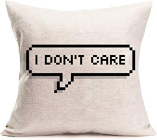 Smilyard Throw Pillow Case Quote with I Don't Care Clip Art Decorative Pillow Covers Cotton Linen SquareCushion Cover Farmhouse Decor for Sofa Bed 18x18 Inch (CA-1)