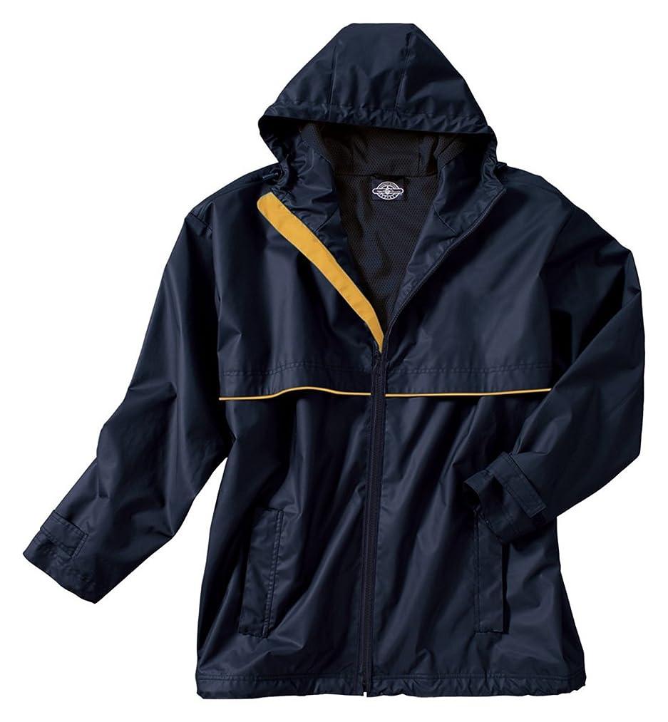 Charles River Mens New Englander Rain Jacket, True Navy/Yellow, L