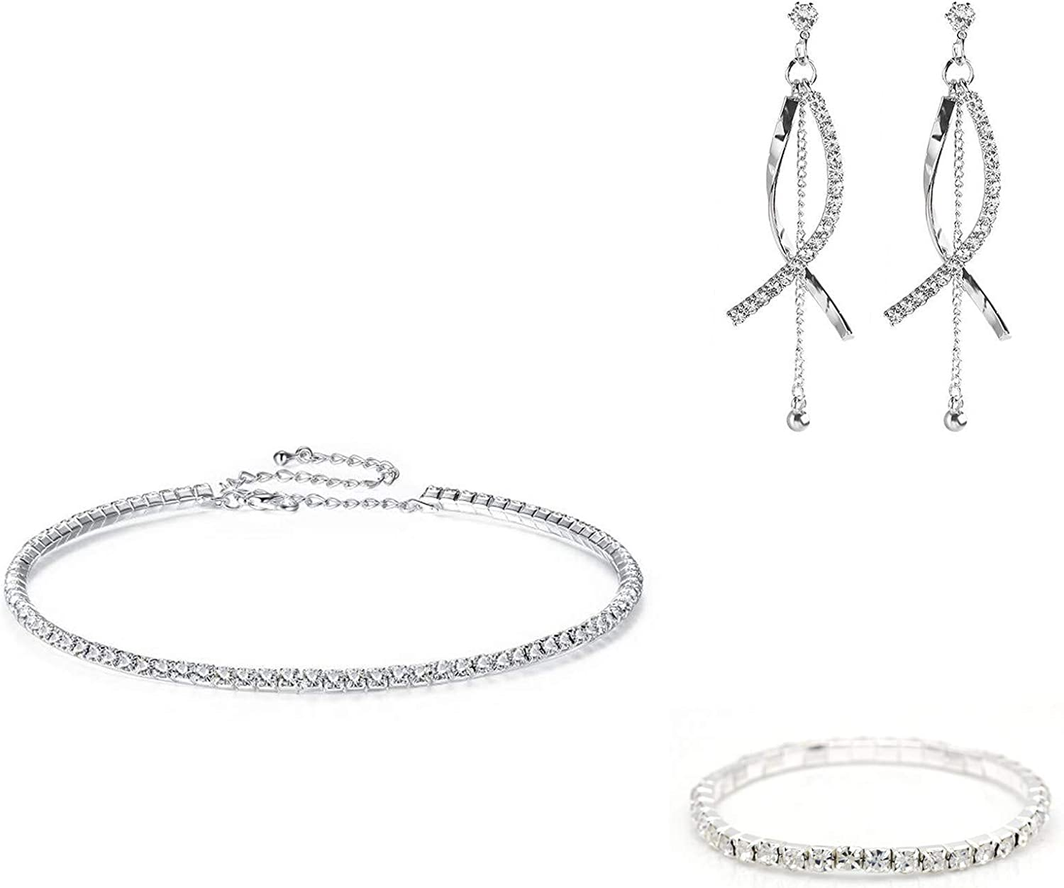 3Pcs/Set Crystal Choker Necklace Sparkly Bracelet Bling Dangle Earring Jewelry Sets Clear Rhinestone Collar Necklace Long Drop Dangle Tassel Fringe Earrings Bridesmaid Jewelry Sets for Wedding Party