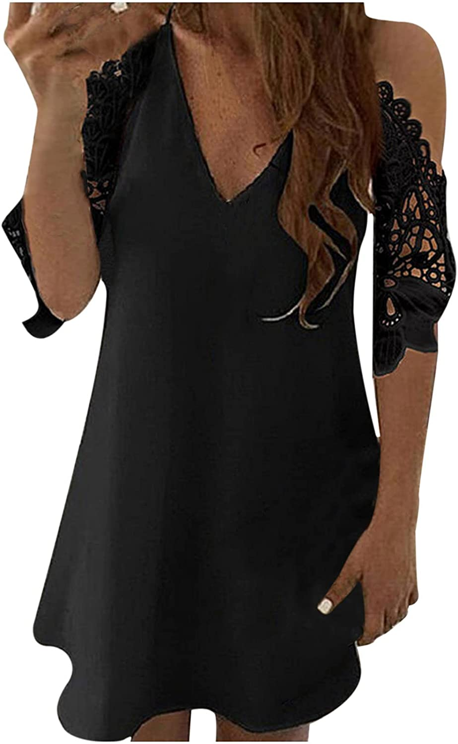 MOOKO Womens Cut Out Cold Cheap super special price Shoulder Summer Tops Max 69% OFF V Long Deep Neck