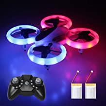 $29 Get Mini Drone, RC Quadcopter LED UFO, 4 Channel 2.4 Ghz 6-Axis Gyro Helicopter with Altitude Hold, One Key Return Home, Long Flight Time Beginner Drone, Easy Flying Toys for Kids and Adults