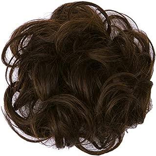 PrettyWit Hair Extensions Wavy Messy Bun Chignons Piece Wig Hairpiece Scrunchy Scrunchie Updo Ribbon Ponytail-Darkest Brown & Dark Auburn M2/33