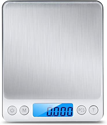 Food Scale,Digital Kitchen Scale, Mini Size Food Scale 500g/ 0.01g - High Precision Jewelry Weight Scale with Platform, Stainless Steel, LCD Display, Tare,Pcs Features
