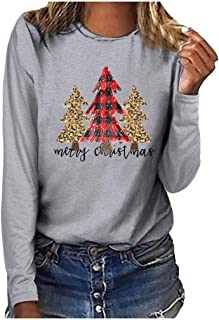 Women Christmas Home Party Tops, Ladies Xmas Tree Printed Long Sleeve T-shirt Blouse Tunic Tops