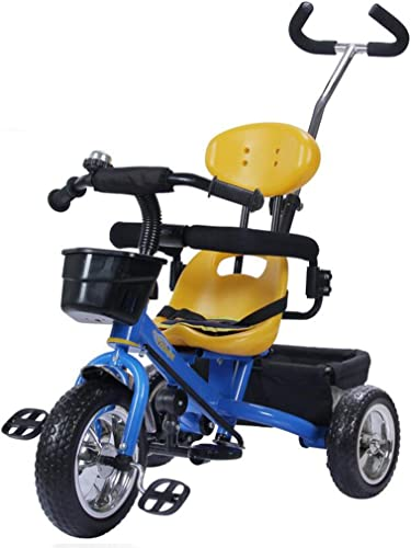 Kinder Dreirad Nicht Aufblasbares EVA-Rad Einstellbare Schubstange Fahrrad 1-5 Jahre Alt Wagen Fahrrad (Farbe   Blau)