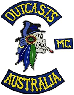 Australia OUTCASTS MC Patch for Jacket Backing, Punk Motorcycle Embroidery Skeleton Biker Badge, Skull Patch Garment Accessory
