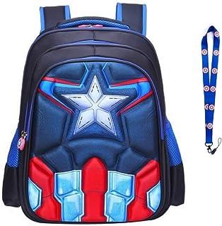 MultiverseMerch Superhero Marvel DC Backpack Bookbag Pack with Free Key Lanyard (Captain America)