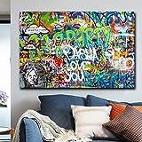 ganlanshu Resumen Lienzo Pintura al óleo Arte de la Pared Pintura al óleo Lienzo póster Imprimir imágenes para Sala de Estar decoración del hogar,Pintura sin Marco,75x112cm