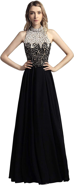 Belle House High Neck Beading Formal Evening Dress A Line Prom Dress 2018 for Women